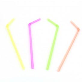 Pajita de Plastico Flexible Fluorescente Ø5mm 23cm (1000 Uds)