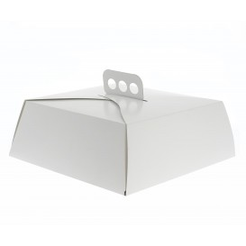 Caja de Cartón Blanca Tarta Cuadrada 27x27x10cm (50 Uds)