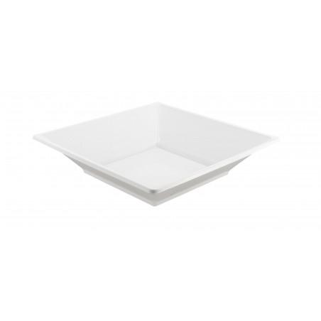 Plato de Plastico Hondo Cuadrado Blanco 170mm (25 Uds)