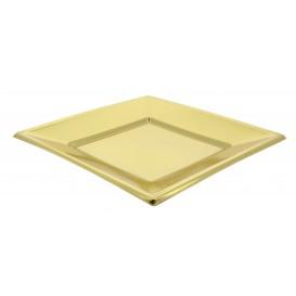 Plato de Plastico Llano Cuadrado Oro 180mm (25 Uds)