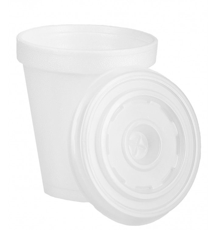 Vaso Termico Foam EPS 6Oz/180ml Blanco + Tapa (1.000 Uds)