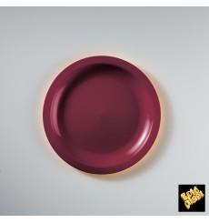 Plato de Plastico Llano Burdeos Ø185mm (50 Uds)