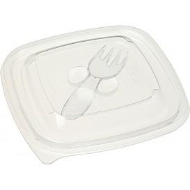 Tapa Plástico para Bol con Tenedor PET 12x12cm (50 Uds)