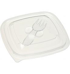 Tapa Plástico con Tenedor Ensaladera PET 12x12cm (50 Uds)