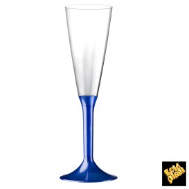 Copa de Plastico Cava con Pie Azul Perlado 160ml (20 Uds)