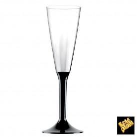 Copa de Plastico Cava con Pie Negro 160ml (20 Uds)