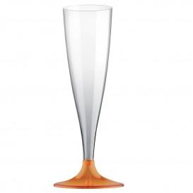Copa de Plastico Cava con Pie Naranja Transp. 140ml (20 Uds)