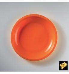 Plato de Plastico Llano Naranja Ø185mm (50 Uds)