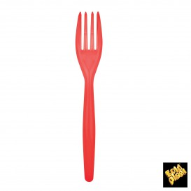 Tenedor de Plastico Easy PS Rojo 180mm (20 Uds)