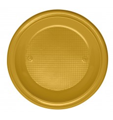 Plato de Plastico Hondo Oro PS 220 mm (30 Uds)