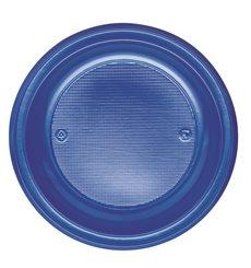 Plato de Plastico Llano Azul Oscuro PS 220 mm (30 Uds)