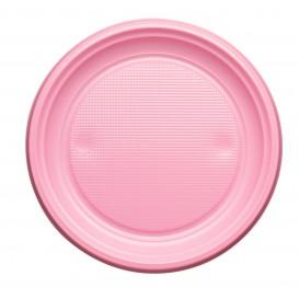 Plato de Plastico PS Llano Rosa Ø170mm (50 Uds)