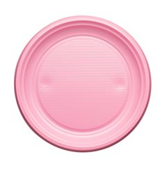 Plato de Plastico Llano Rosa PS 170mm (50 Uds)