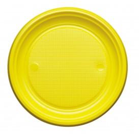 Plato de Plastico PS Llano Amarillo Ø170mm (50 Uds)