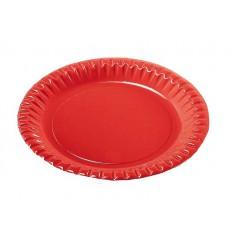 Plato de Carton Redondo Rojo 230mm (10 Uds)