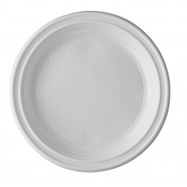 Plato de Plastico PS Hondo Blanco 220 mm (100 Uds)