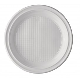 Plato de Plastico PS Llano Blanco 220 mm (100 Uds)