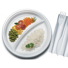 Plato de Plastico PS 2 Compartimentos 220 mm (100 Uds)