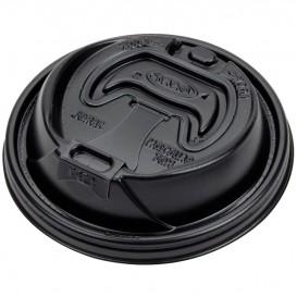Tapa Recerrable Plastico PS Negro Ø9,4cm (100 Uds)