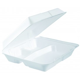 Envase Foam MenuBox 3 C. Blanco 240x235mm (100 Uds)