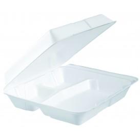 Envase Foam MenuBox 3 C. Divisible Blanco 240x235mm (100 Uds)