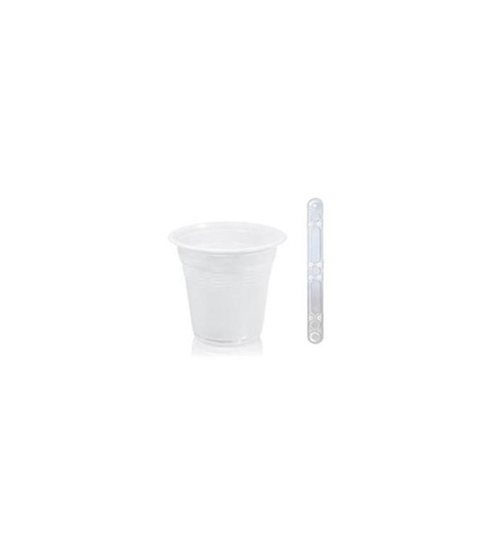Pack Vaso 80ml Blanco y Paletina 90 mm Transparente