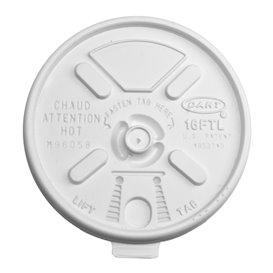 "Tapa de Plastico PS ""Lift n' Lock"" con solapa Blanca Ø9,4cm (100 Uds)"