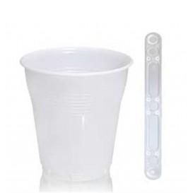 Pack Vaso 160ml Vending BLANCO  3000 Uds +  Paletina 90mm Transparente