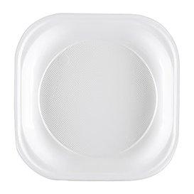 Plato de Plastico PS Cuadrado Blanco 200x200mm (50 Uds)