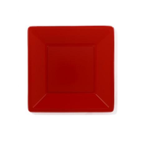 Plato de Plastico Llano Cuadrado Rojo 230mm (25 Uds)