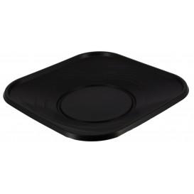 Plato de Plastico Cuadrado Negro PP 230mm (8 Uds)
