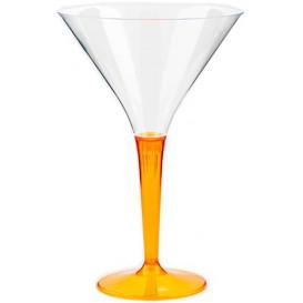 Copa de Plastico Cocktail Pie Naranja 100 ml (6 Uds)