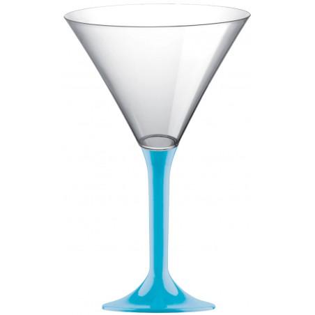 Copa de Plastico Cocktail con Pie Turquesa 185ml (20 Uds)