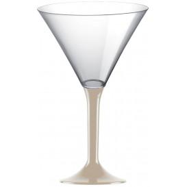 Copa de Plastico Cocktail con Pie Beige 185ml (20 Uds)