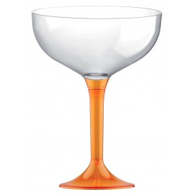 Copa de Plastico Champan con Pie Naranja Transp. 120ml (20 Uds)