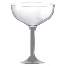 Copa de Plastico Champan con Pie Gris 120ml (20 Uds)