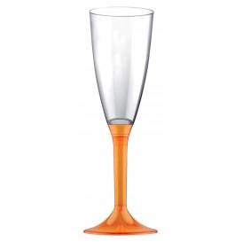 Copa de Plastico Cava con Pie Naranja Transp. 120ml (20 Uds)
