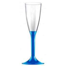 Copa de Plastico Cava con Pie Azul Mediterraneo 120ml (20 Uds)