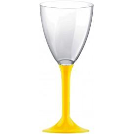 Copa Plastico Vino Pie Amarillo 180ml 2P (20 Uds)