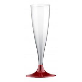 Copa de Plastico Cava con Pie Burdeos 140ml (20 Uds)