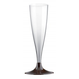 Copa de Plastico Cava con Pie Marron 140ml (20 Uds)