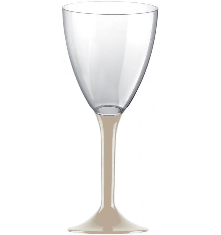 Copa Plastico Vino Pie Beige 180ml 2P (20 Uds)