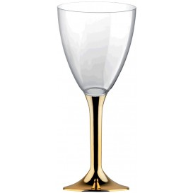 Copa Plastico Vino Pie Oro Cromado 180ml 2P (20 Uds)