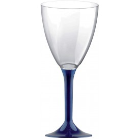 Copa de Plastico Vino con Pie Azul 180ml (20 Uds)