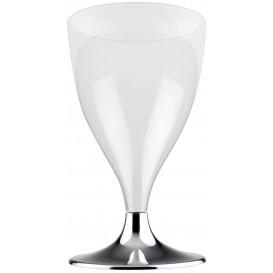 Copa de Plastico Vino con Pie Plata Cromado 200ml (20 Uds)