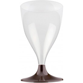 Copa de Plastico Vino con Pie Marron 200ml (20 Uds)