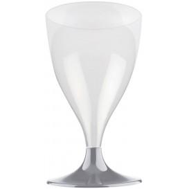 Copa de Plastico Vino con Pie Gris 200ml (20 Uds)