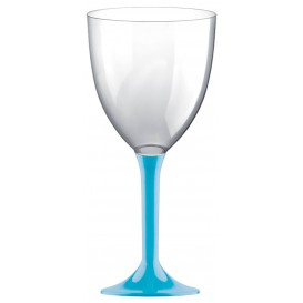 Copa de Plastico Vino con Pie Turquesa 300ml (20 Uds)