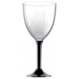 Copa Plastico Vino Pie Negro 300ml 2P (20 Uds)