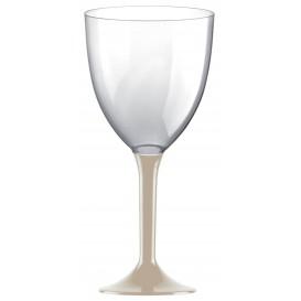 Copa de Plastico Vino con Pie Beige 300ml (20 Uds)